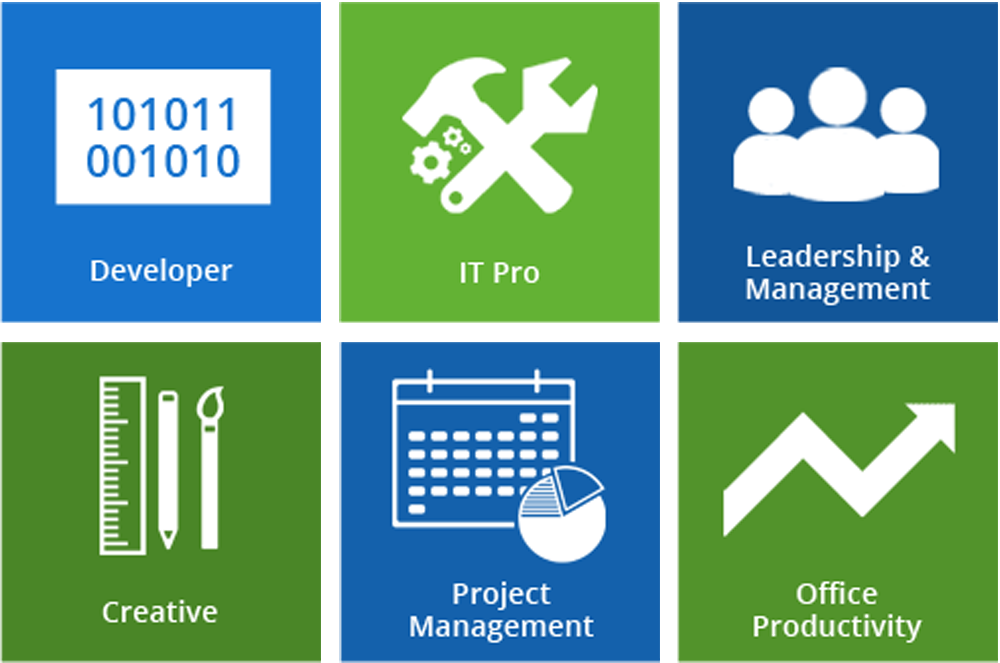 Developer; IT Pro; Leadership and Management; Creative; Project Management; Office Productivity
