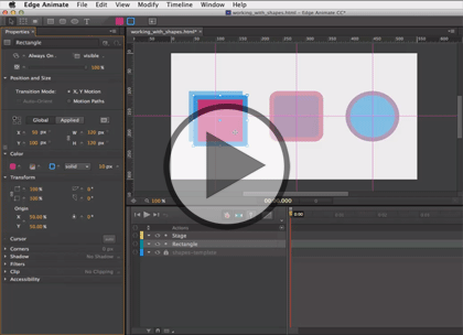 Edge Animate CC, Part 2: Shapes and Text