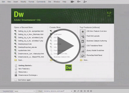 Dreamweaver CS6, Part 6: Flash A/V, Library & Code